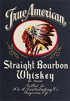 True American Whiskey label, 1915–1920