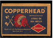 Copperhead Matches box, ca. 1920