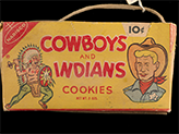 Cowboys and Indians Cookies box, ca. 1955