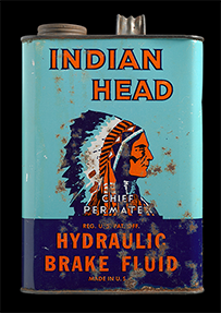 Indian Head Hydraulic Brake Fluid can, ca. 1955