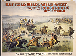"""On the Stage Coach"" poster for Buffalo Bill's Wild West show, ca. 1893"