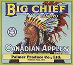 Big Chief Canadian Apples crate label, 1940s