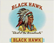 Black Hawk cigar box label, ca. 1938