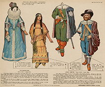 Pocahontas and John Smith paper doll set, 1909