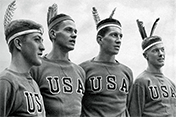 U.S. rowing team members at the Berlin Olympics, 1936
