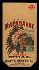 Rapahanoc Corn Meal bag, ca. 1950