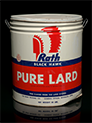 Rath Black Hawk Pure Lard can, 1940s