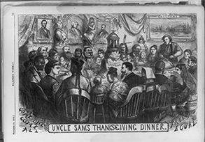 Uncle Sam's Thanksgiving Dinner, 1869