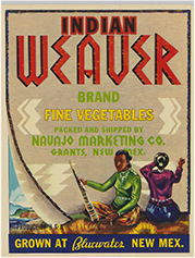 Indian Weaver Vegetables crate label, 1940s