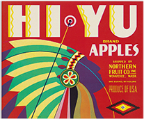 Hi Yu Apples crate label, 1940s