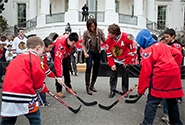 First Lady Michelle Obama and Chicago Blackhawks, 2011