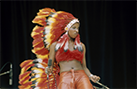 Chaka Khan performs in an eagle-feather headdress, ca. 1975