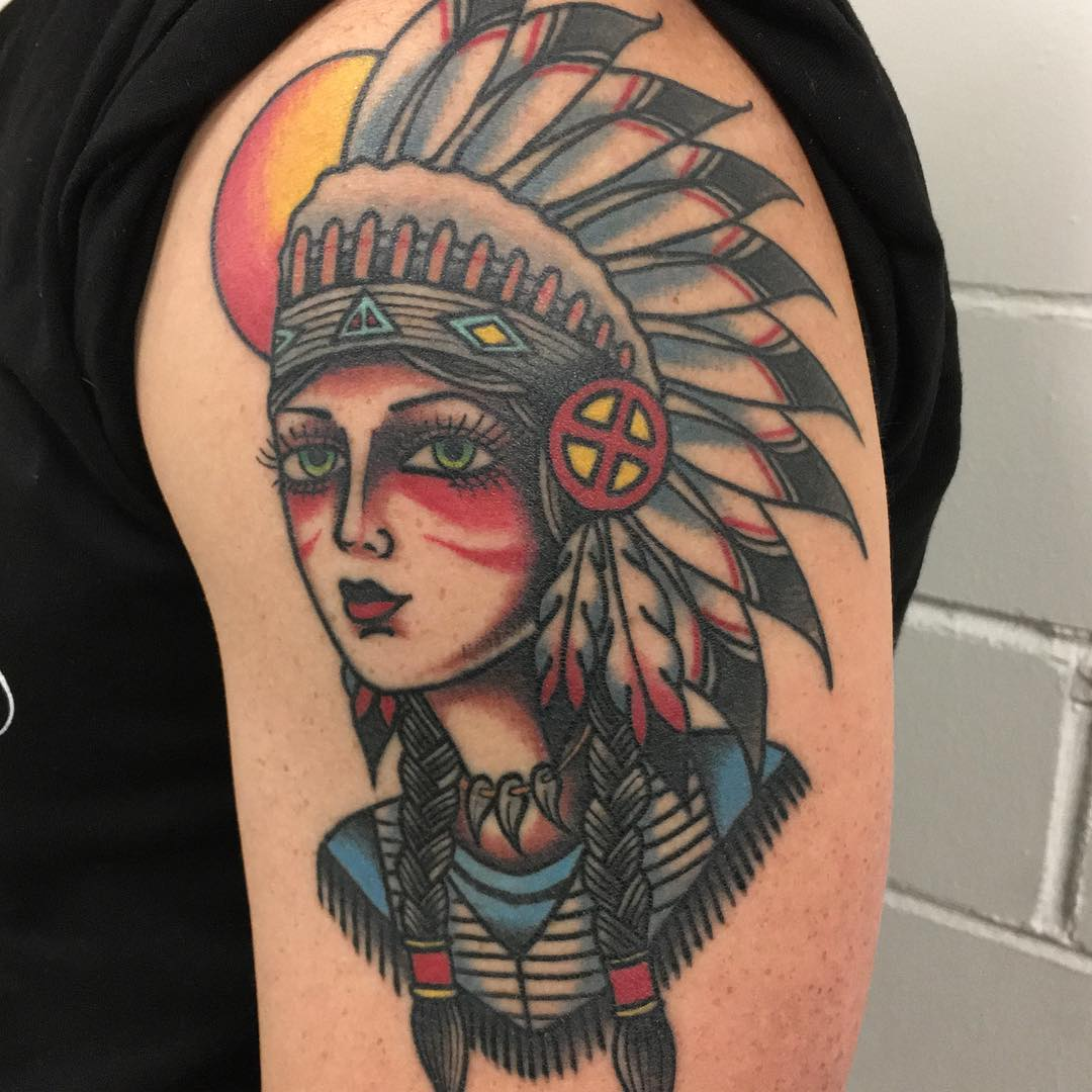 Indian tattoo on shoulder