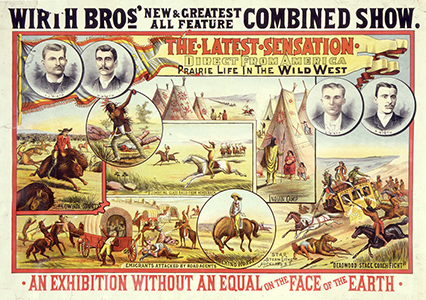 """Prairie Life in the Wild West"" poster for Wirth Bros' show, 1890"