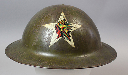 World War I Marine Corps helmet with Indian head-and-star insignia, 1918