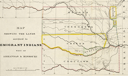 Map showing the lands assigned to emigrant Indians west of Arkansas and Missouri, 1836